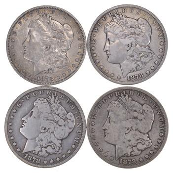 Lot (4) 1878-CC Morgan Silver Dollars