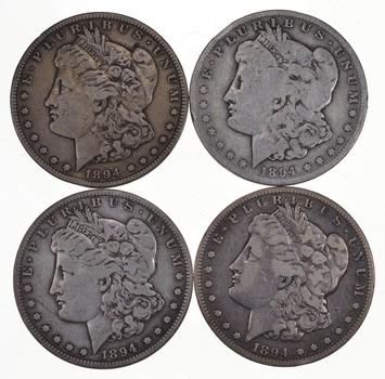 Lot (4) 1894-S Morgan Silver Dollars