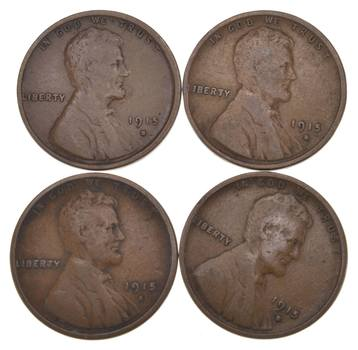 Lot (4) 1915-S Lincoln Wheat Cents