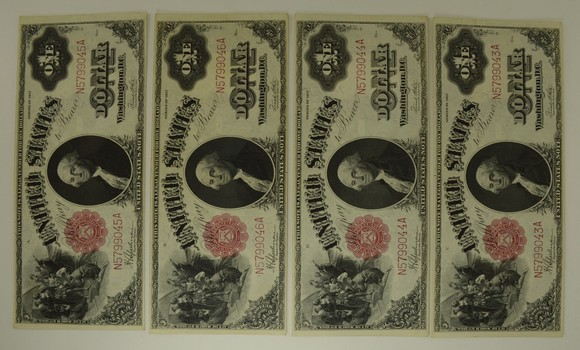 Lot (4) 1917 $1 Legal Tender Large Size Notes - Consecutive!