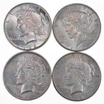 Lot (4) 1922-D Peace Silver Dollars