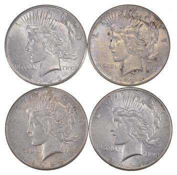 Lot (4) 1926 Peace Silver Dollars