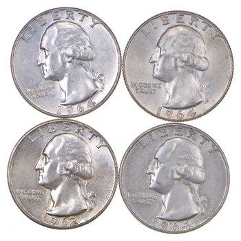 Lot 4 Choice BU UNC 90% Silver - 1960-1964 Washington Quarter $1 Face