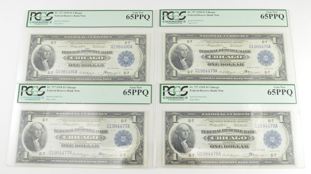 Lot (4) Gem New 65PPQ 1918 $1 Federal Reserve Bank Notes - Chicago - Consecutive - Graded PCGS