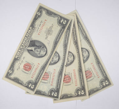 Lot (4) Red Seal $2.00 US 1953 or 1963 Notes - Currency Collection