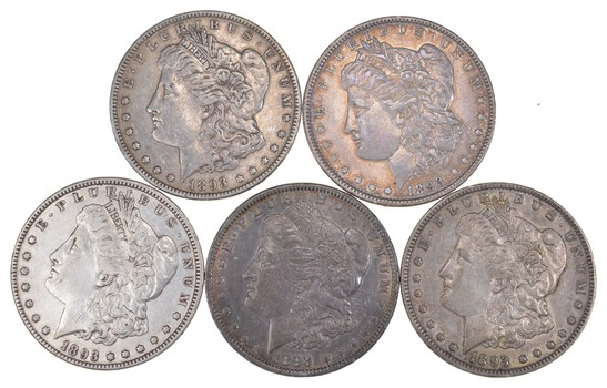Lot (5) 1893 Morgan Silver Dollars
