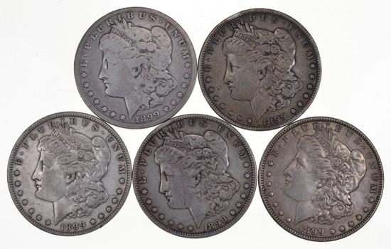 Lot (5) 1899 Morgan Silver Dollars