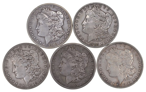 Lot (5) 1903-S Morgan Silver Dollars