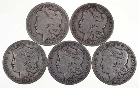 Lot (5) 1904-S Morgan Silver Dollars