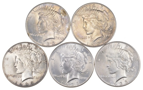 Lot (5) 1935 Peace Silver Dollars - Uncirculated