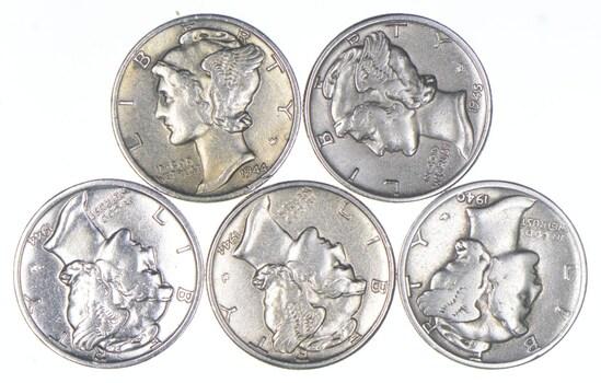 Lot (5) AU/Unc 1944-D 1945 1944-D 1944 1940 Mercury Silver Dimes Collection