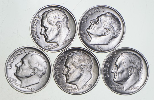 Lot 5 TOUGH 1946-1949 P/D/S Roosevelt Dime 90% Silver Bullion Grade