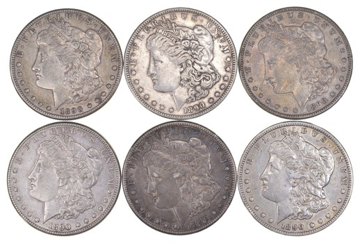Lot (6) 1890-CC Morgan Silver Dollars
