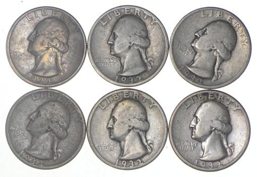 (Lot 6) 1932-D Washington Quarters