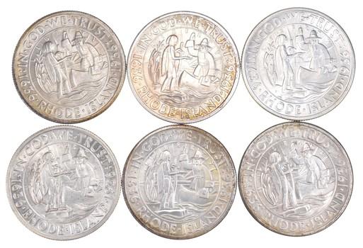 Lot (6) 1936 Rhode Island Commemorative Half Dollars - Various Mint Marks - Uncirculated
