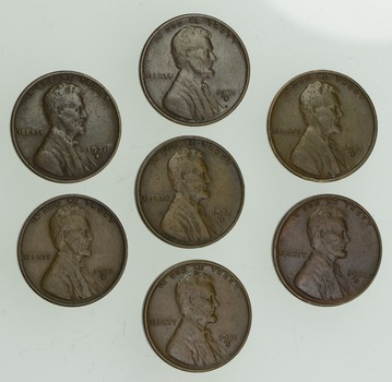 Lot (7) 1931-S Lincoln Wheat Cents