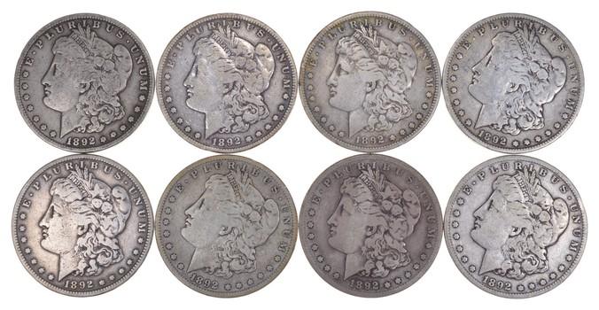 Lot (8) 1892-S Morgan SIlver Dollars
