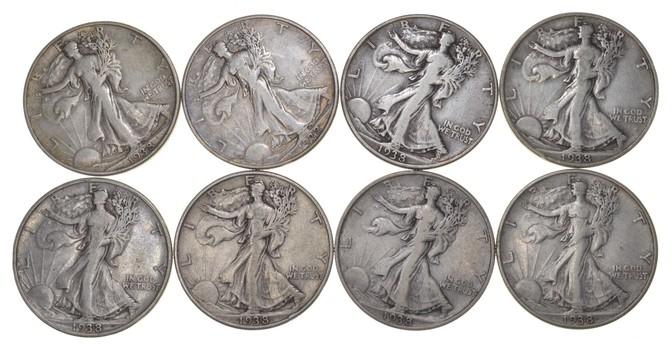 Lot (8) 1938-D Walking Liberty Half Dollars