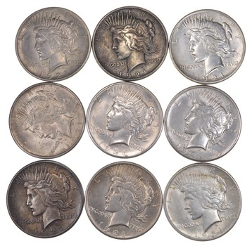 Lot (9) 1921 Peace Silver Dollars - Part Roll