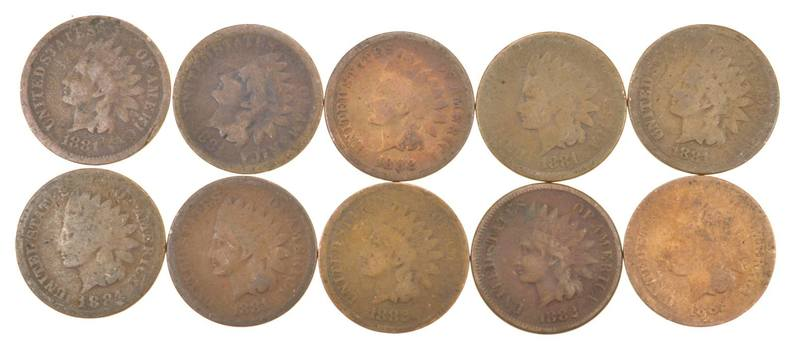 Lot of 10 1800's 1880-1889 Indian Head Penny Cents - US Coin Collection