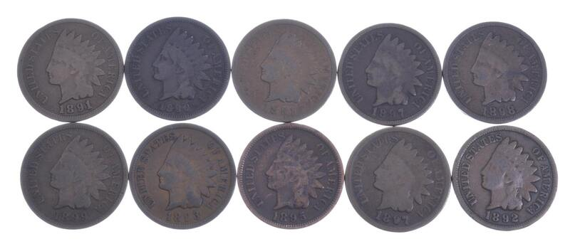 Lot of 10 1800's 1890-1899 Indian Head Penny Cents - US Coin Collection