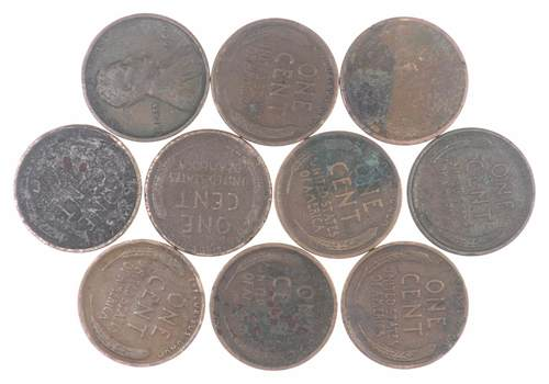 Lot of 10 - 1909 Lincoln Wheat Cent Penny - 1st year of issue! 1/5 roll Collection