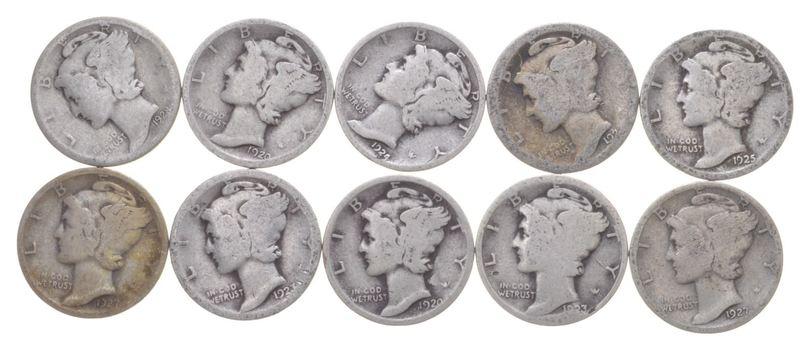 Lot of 10 1920'S - 1920-1929 Mercury Liberty Head Silver Dime