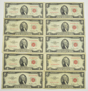 Lot of 10 Ivy Baker Priest 1953 $2.00 Red Seal US Notes