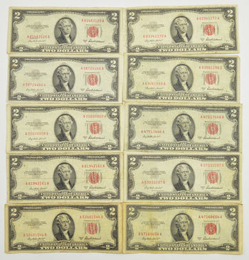 Lot of 10 Robert B Anderson Secretary Of The Treasury 1953-A $2.00 Red Seal US Notes