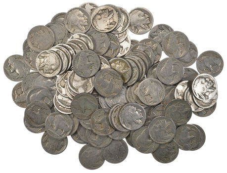 Lot of 100 Buffalo Head Nickels (1913-38 Era) - Bulk Lot - No Dates