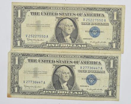 Lot of 1957-A & 1957-B $1.00 Silver Certicate Paper Money