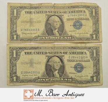 Lot of 1957-A & 1957-B $1.00 Silver Certificate Paper Money