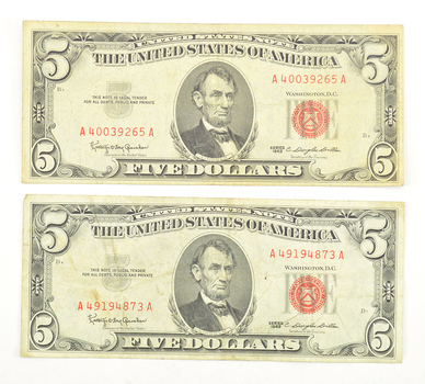 Lot of (2) 1963 Red Seal $5.00 United States Notes