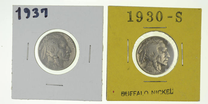 Lot of 2 Buffalo Nickels (1913-1938 Era) - US Coin Collection