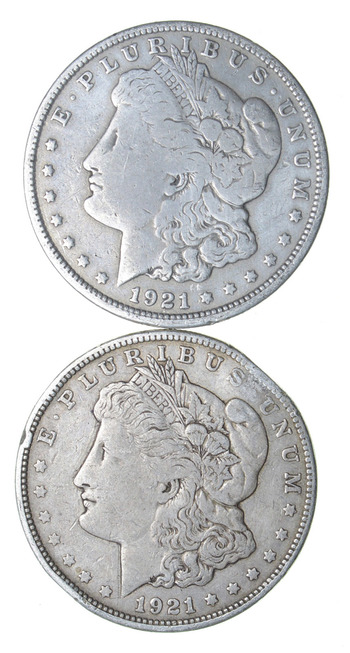 Lot of (2) Bullion Morgan Silver Dollars 1921 Two 90% Silver $1.00 US Coins Face