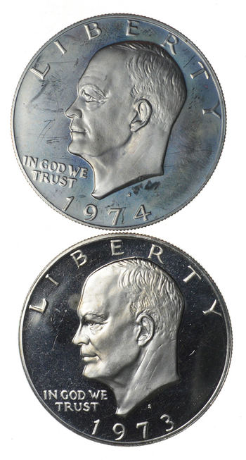 Lot of 2 Deep Cameo - 'S' Mint Marked - Eisenhower Dollars - Proof