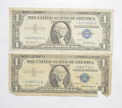 Lot of 2 ERROR Replacement *Star* 1957$1.00 Silver Certificate Note