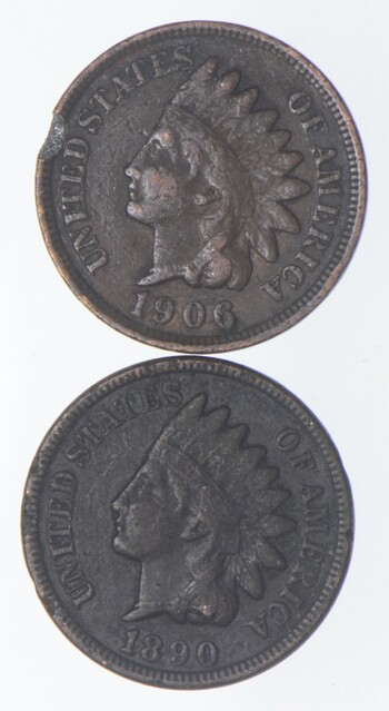 Lot of 2 STRONG Liberty 1906 & 1890 Indian Head Cent