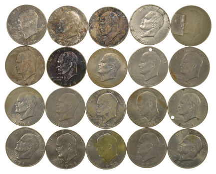 Lot of 20 Assorted Eisenhower Dollars