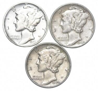 Lot of 3 AU/Unc 1941, 1940, 1940 Mercury Dimes 90% Silver Collection