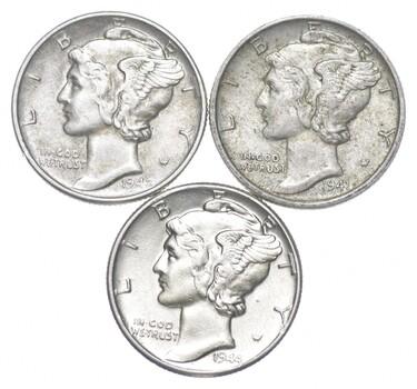 Lot of 3 AU/Unc 1942, 1941, 1944 Mercury Dimes 90% Silver Collection