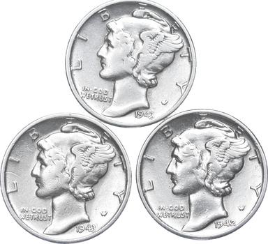 Lot of 3 AU/Unc 1943, 1943, 1942 Mercury Dimes 90% Silver Collection