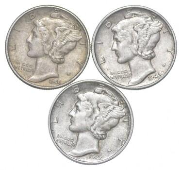 Lot of 3 AU/Unc 1944, 1942, 1945 Mercury Dimes 90% Silver Collection