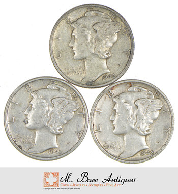 Lot of (3) High Grade Mercury Silver Dimes - WOW 3 For 1 Money!
