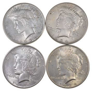 Lot Of 4 1934-D Peace Silver Dollars