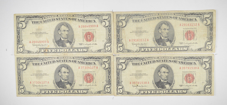 Lot of (4) $5.00 Red Seal US Notes Currency Collection $5 1963 or 1953