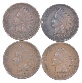 Lot of 4 STRONG Liberty 1905 1901 1903 & 1904 Indian Head Cent Lot