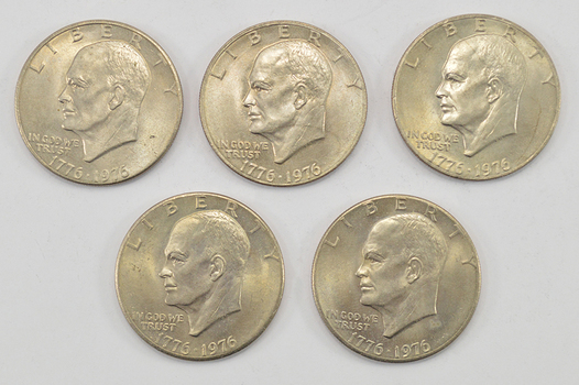 Lot of 5 - 1776-1976 Bicentennial Clad Eisenhower Dollars - 1776-1976 Bicentennial One Year Variety