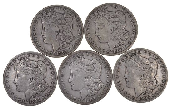 Lot Of 5 1903-S Morgan Silver Dollars