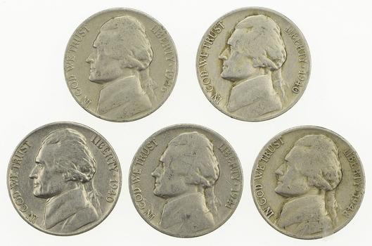 Lot of 5 1940's Jefferson Nickels - Various Dates - Tough - US Coins- Varoius Dates